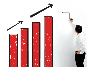 Man drawing bar graph on white board_image