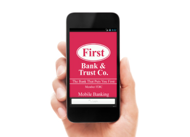 smartphone with First Bank & Trust Mobile Banking-Image