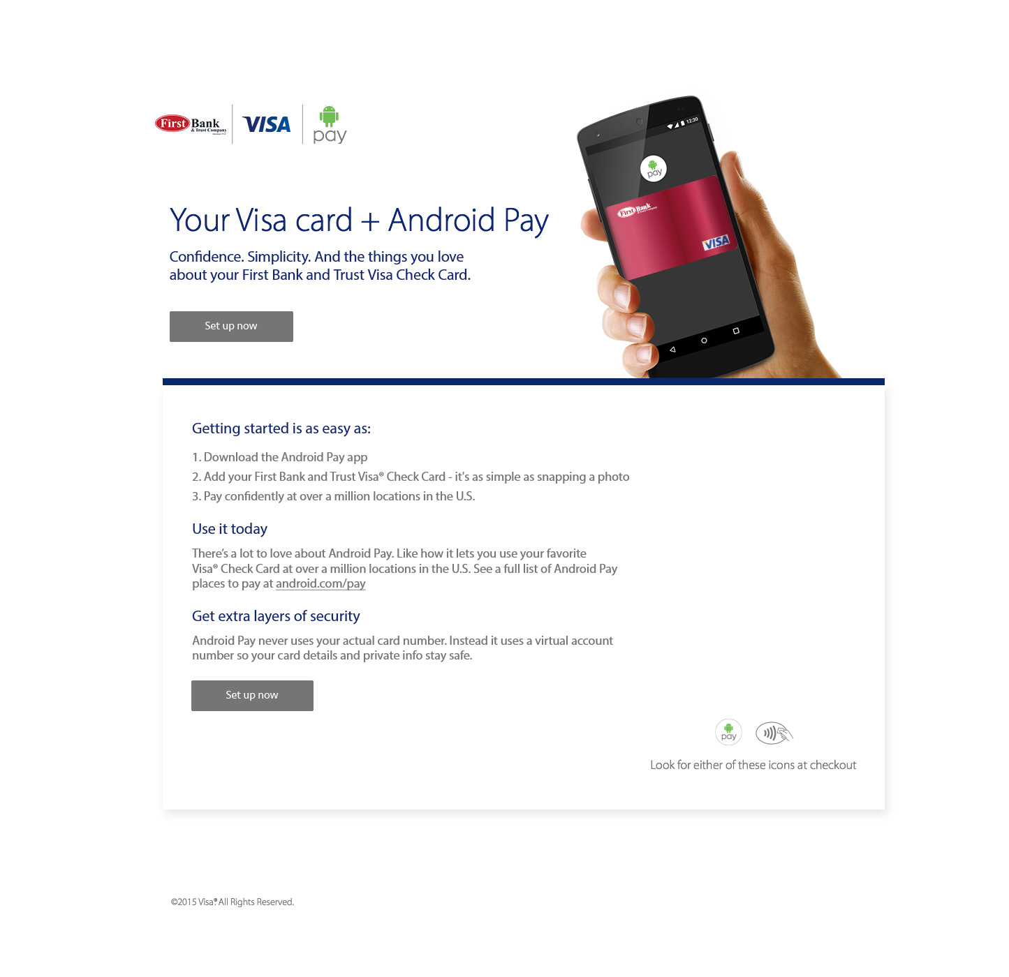 Andriod pay landing page