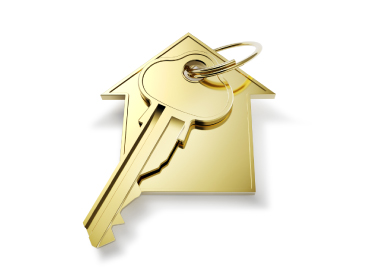 Gold house shaped key ring with one key_image