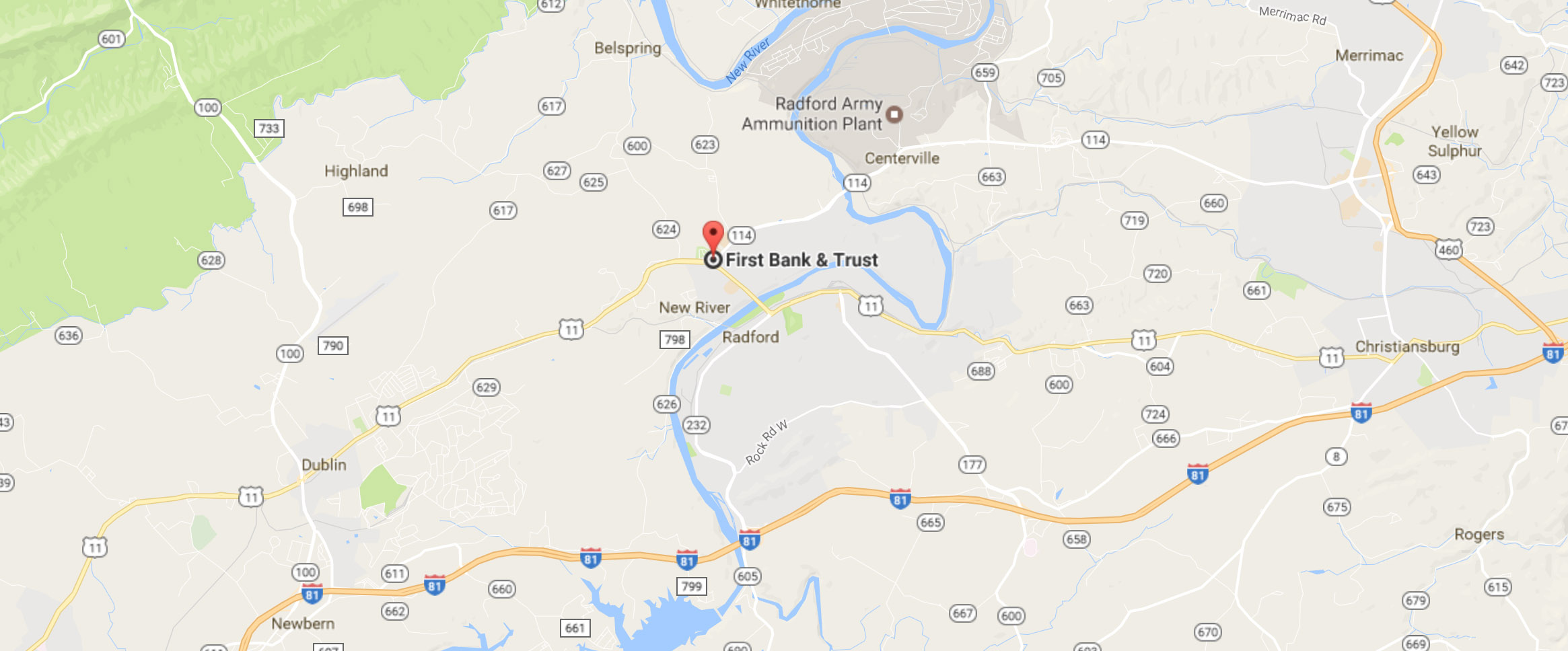 Map of First Bank and Trust location in Fairlawn, Virginia