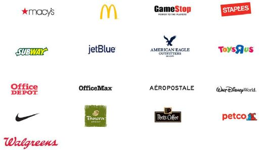 Apple Pay merchant logos Macy's, McDonalds, GameStop, Staples, Subway, JetBlue, American Eagle, Toys-R-us, Office Depot, Office Max, Aeropostale, Walt Disney World, Nike, Panera, Peets Coffee, Petco, and Walgreens